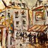 Menschen, Stimmung, Häuser, Malerei