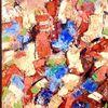 Orange, Blau, Beige, Malerei