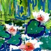 See rosen, Grün, Teich, Malerei
