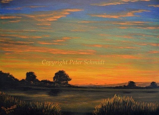 Landschaft, Malerei, Berge, Horizont, Orange, Acrylmalerei