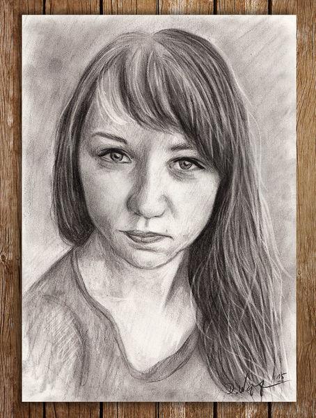 Frau, Portrait, Kohlezeichnung, Haare, Zeichnung, Zeichnungen