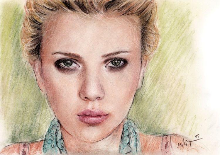 Frau, Zeichnung, Pastellmalerei, Bunt, Scarlett johansson, Portrait