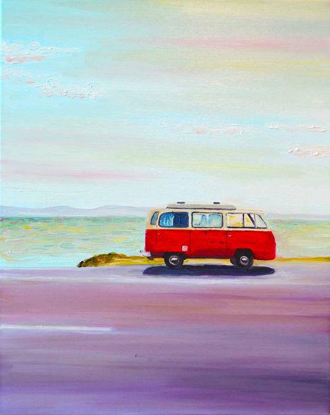 Auto, Ambiente, Landschaft, Bulli, Meer, Malerei