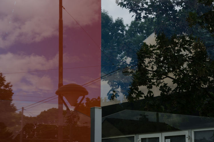 Raumcollage, Stadt, Architektur, Raum, Collage, Rot
