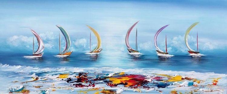 Fantasie, 3d, Boot, Segel, Blau, Malerei