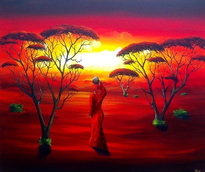 Afrika, Modern, Gemälde, Malerei,