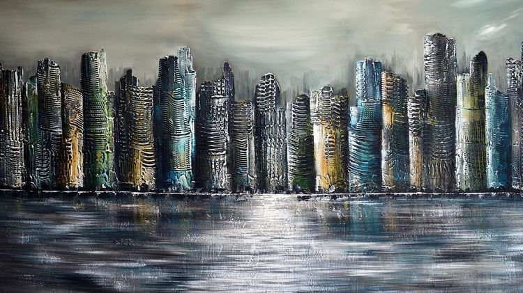 Acrylmalerei, Gemälde, Skyline, Fantasie, Abstrakt, Malerei