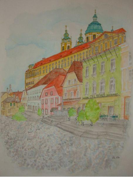 Altstadt, Melk, Aquarell, Abstrakt