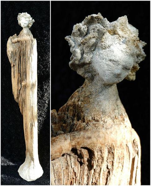 Beton, Zeitgenössisch, Abstrakt, Elegante, Skulptur, Treibholz