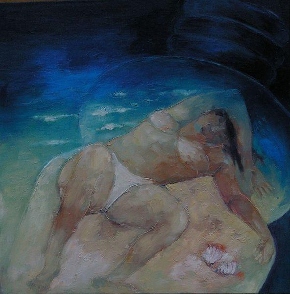 Plastikflasche, Frau, Strand, Sonnenbad, Malerei,