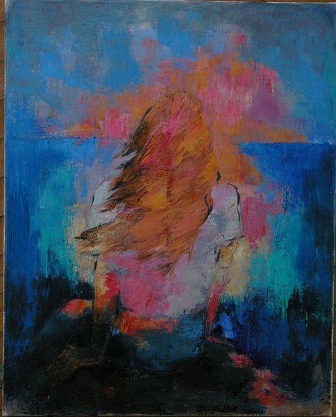 Sonnenuntergang, Ruhig, Fantasie, Meer, Frau, Malerei