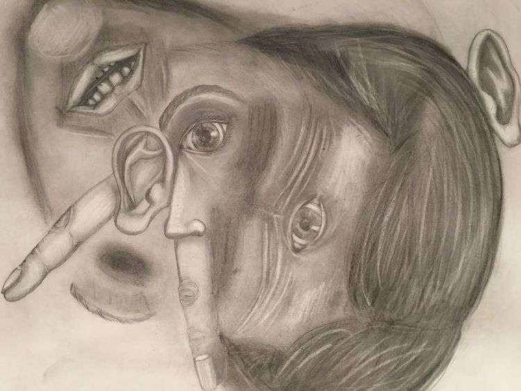 Bleistiftzeichnung, Sich verlieren, Hilflosigkeit, Erkennen, Zeichnung, Einsamkeit