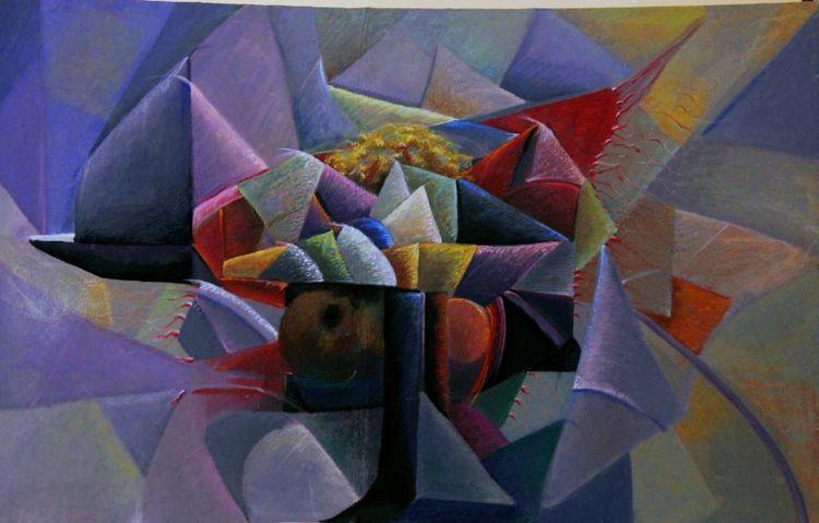 Blau, Dreiecke, Bunt, Abstrakt, Malerei, Portrait