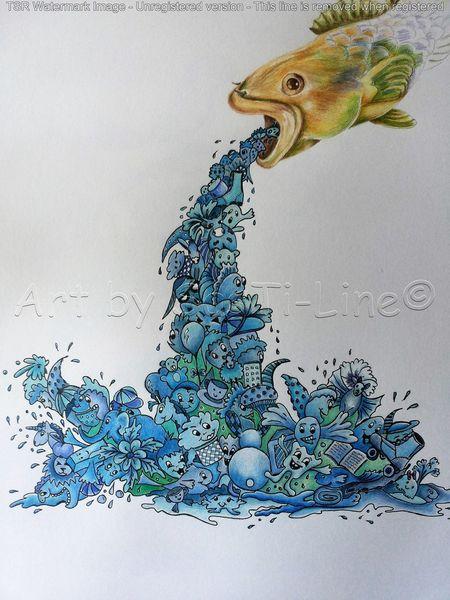 Fisch, Fantasie, Doodles, Bunt, Polychromos, Tierisches wimmelbild