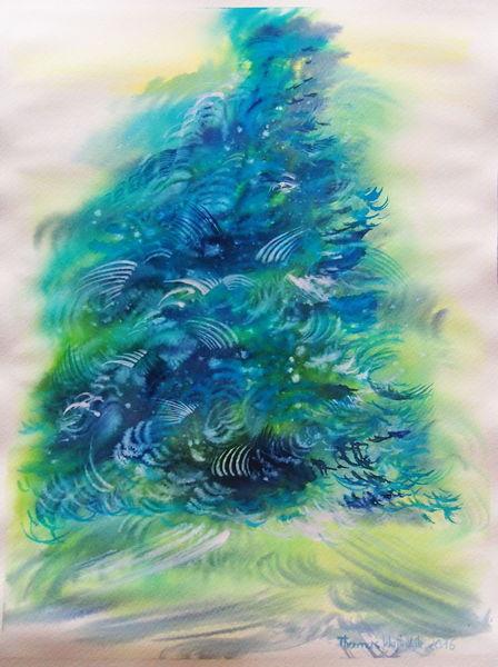 Baum, Blau, Wald, Aquarell