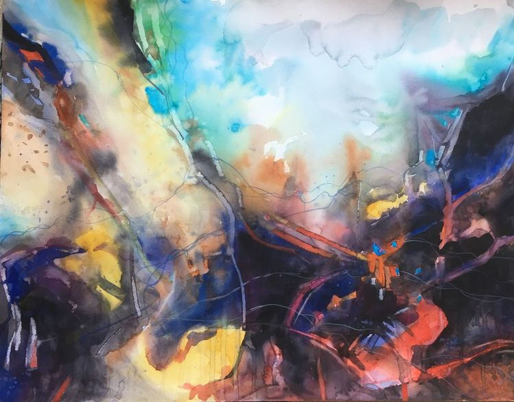 Aquarellmalerei, Abstrakt, Explosion, Aquarell