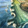 Aquarellmalerei, Küste, Meer, Aquarell