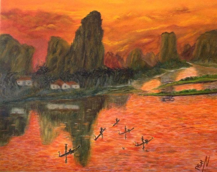 Abend, Landschaft, Sonnenuntergang, Acrylmalerei, Berge, Guilin