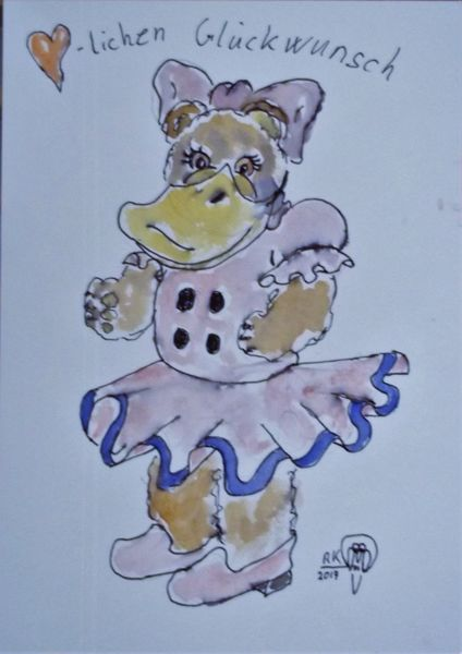 Teddy, Ente, Bär, Gänseblümchen, Aquarell