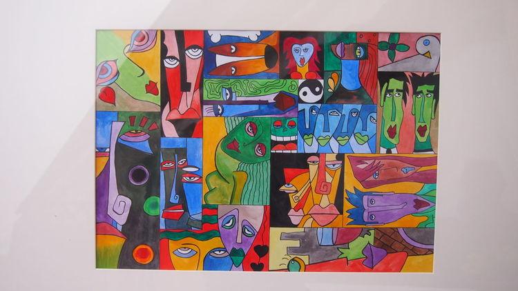 P1011337, Figural, Frau, Rot schwarz, Malerei, Abstrakt