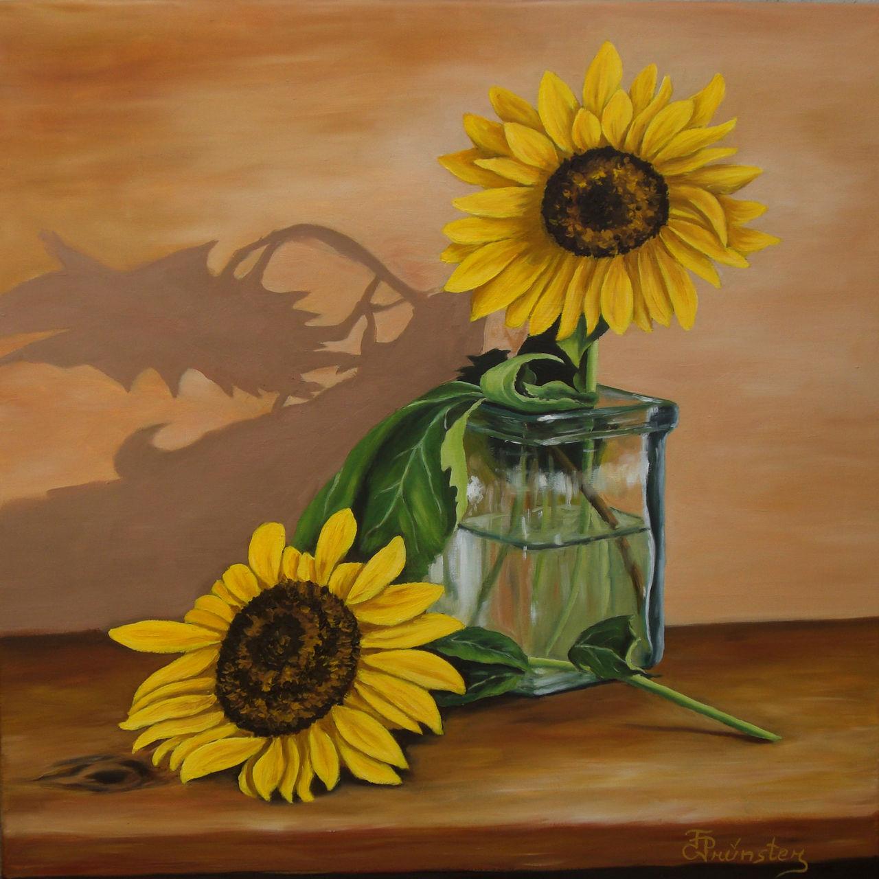 stilleben sonnenblumen realismus malerei stillleben lmalerei von florian pr nster bei kunstnet. Black Bedroom Furniture Sets. Home Design Ideas