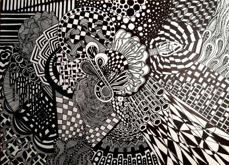 Schwarz weiß, Zeichnung, Malerei, Frage