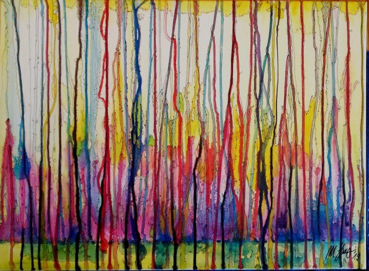 Zerlaufen, Durcheinander, Bunt, Gekritzel, Malerei, Horizont