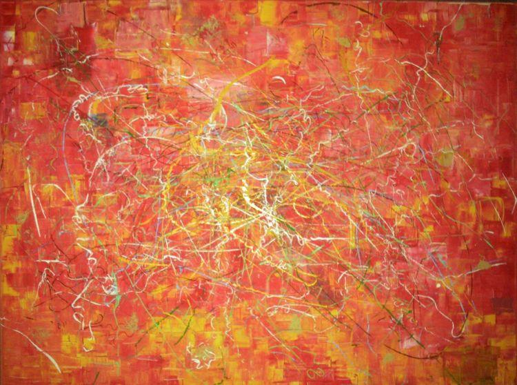Chaotisch rot gelb, Malerei