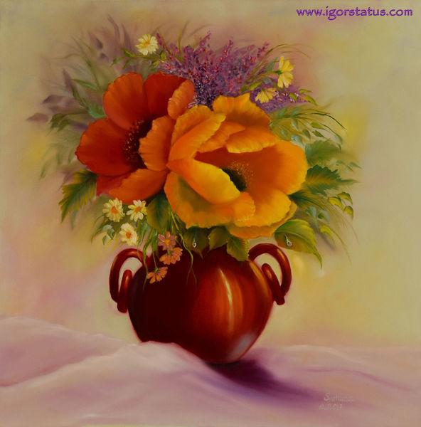 Mohnblüten, Bloemen, Vase, Blumen, Natur, Stillleben