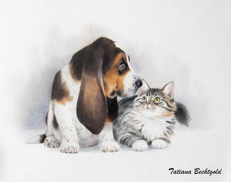 Kinderbuch illustration, Hund, Katze, Aquarell, Freunde