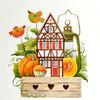 Garten, Kürbisse, Herbst, Aquarell