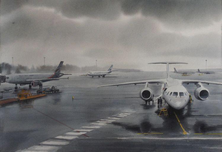 Landschaft, Flughafen, Regnerischer tag, Flugzeug, Aquarell, Tag