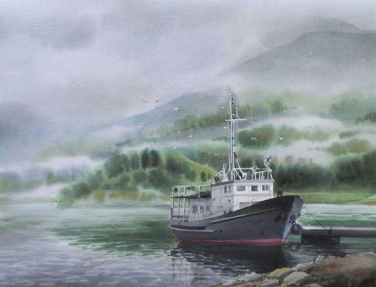 Landschaft, Schiff, See, Natur, Nebel, Aquarell
