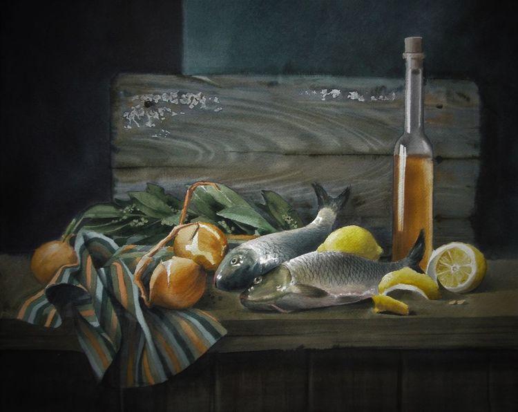 Schtillleben, Fisch, Zitrone, Aquarell, Fischen