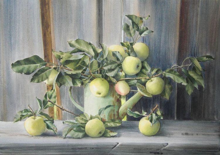 Natur, Garten, Apfel, Stillleben, Sommer, Aquarell