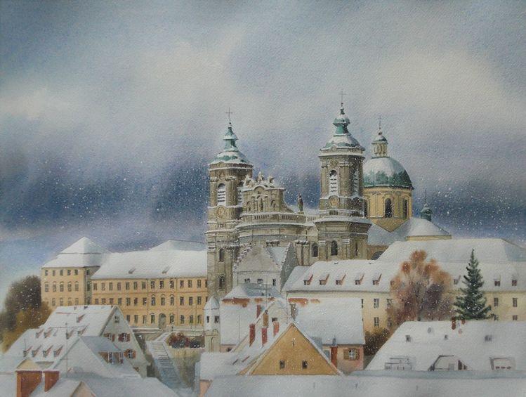 Winter, Stadt, Landschaft, Schnee, Aquarell, Basilika