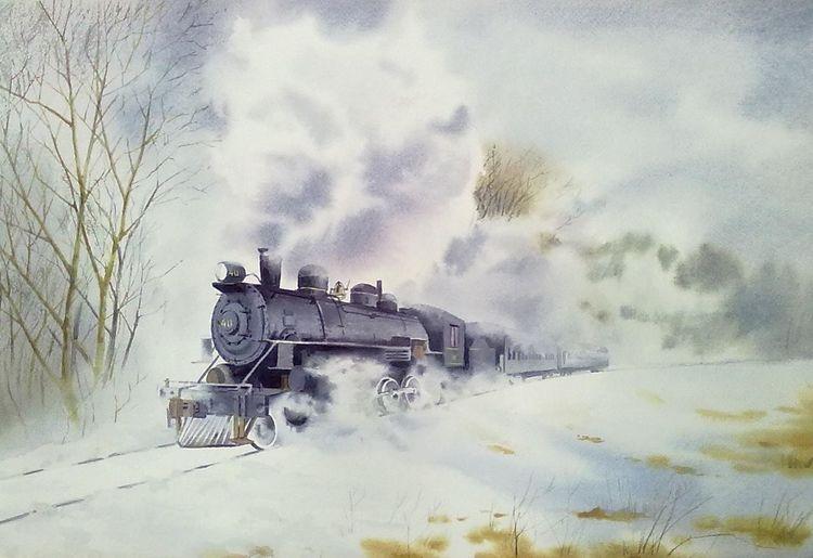 Dampflokomotive, Winter, Zug, Landschaft, Eisenbahn, Aquarell