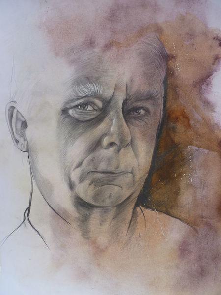 Zeichnung, Menschen, Portrait, Gesicht, Großvater, Mann