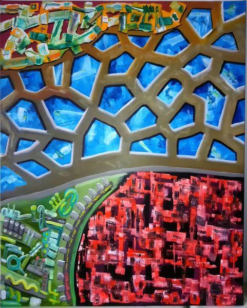 Gestisch, Komplexität, Ölmalerei, Kontrast, Pinselstriche, Malerei