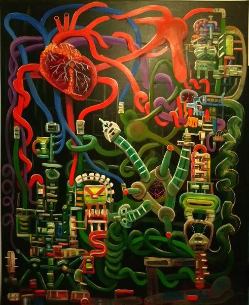Surreal, Pinselstriche, Ölmalerei, Komplexität, Biomechanik, Fantasie