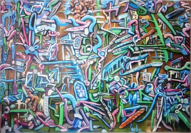 Ölmalerei, Biomechanik, Magenta, Surreal, Komplexität, Malerei