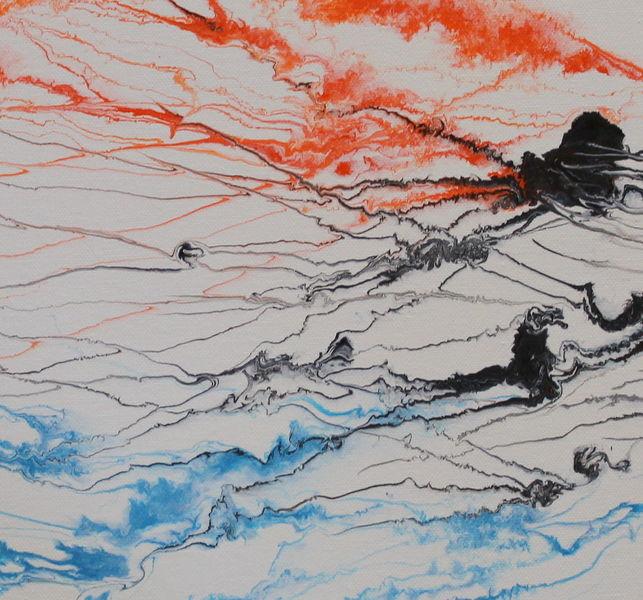 Blau, Weiß, Abstrakt, Malerei, Rot schwarz, Acrylmalerei