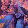 Blau, Aprikot, Mix, Malerei