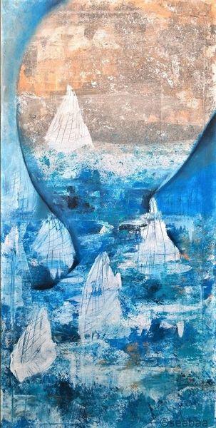 Arikot, Blau, Weiß, Malerei, Kopf, Segel