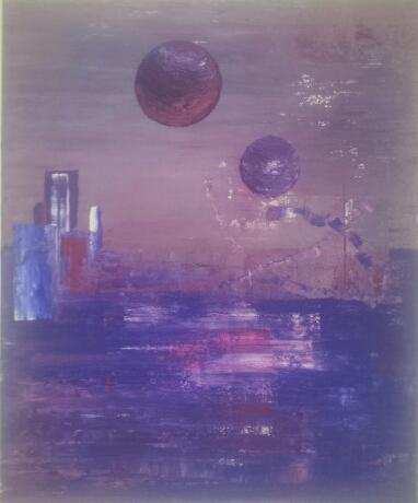 Malerei, Acrylmalerei, Blau, Abstrakt, Rot, Weiß