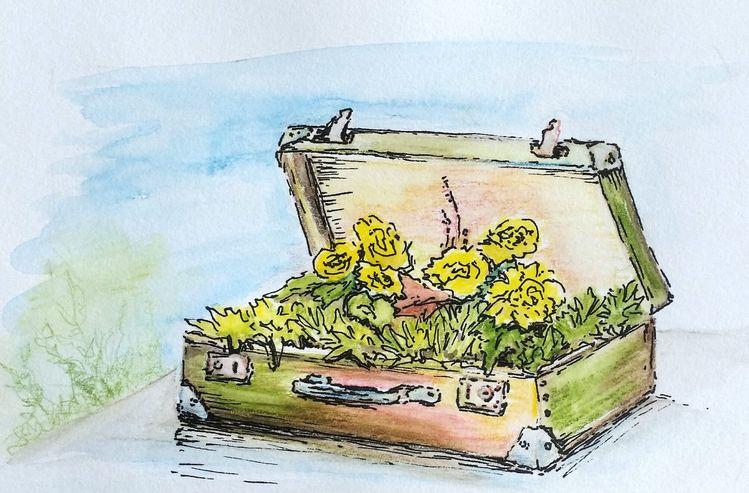 Gelb, Sonne, Frühling, Nostalgie, Koffer, Illustrationen