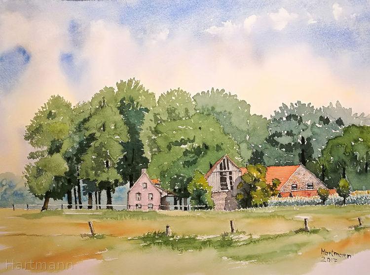 Wiese, Aquarellmalerei, Münsterland, Landschaft, Wald, Schatten