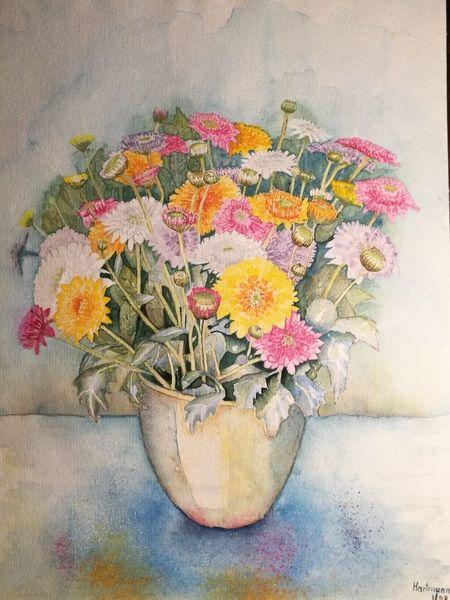 Blumen, Aquarellmalerei, Astern, Aquarell, Blumentopf