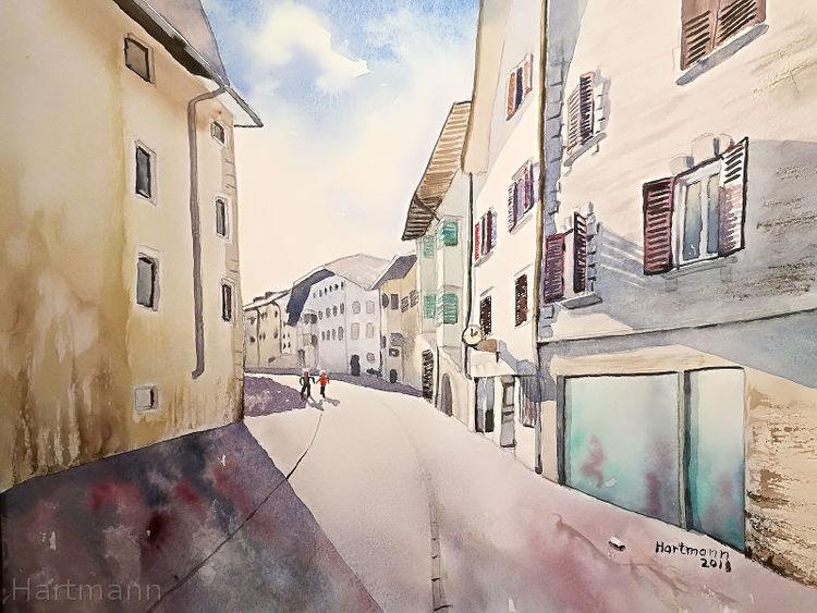 Aquarellmalerei, Schatten, Kaltern, Südtirol, Licht, Aquarell