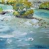 Wasser, Fluss, Landschaft, Aquarell